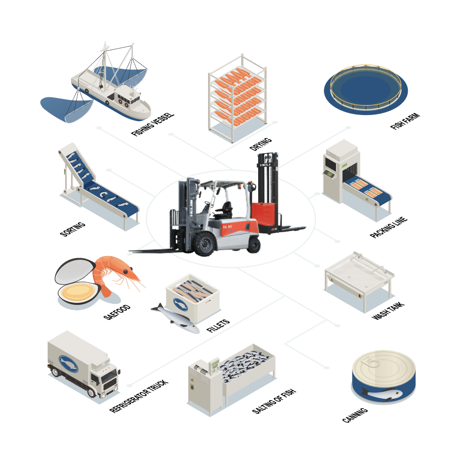 Infographic on the functions performed by HELI fishery forklifts in the processing procedure.